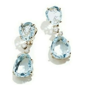 🎀💙925 Aquamarine Water Drop Earings